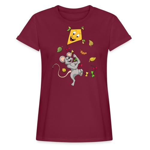 Maus mit Drachen im Herbst - Frauen Oversize T-Shirt