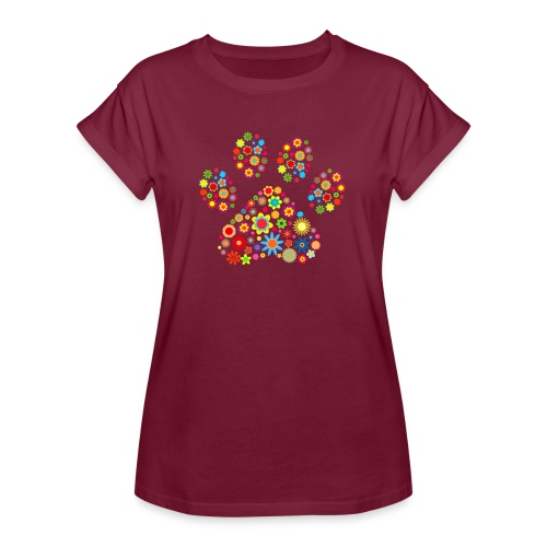 Vorschau: flower dog paw cat - Frauen Oversize T-Shirt