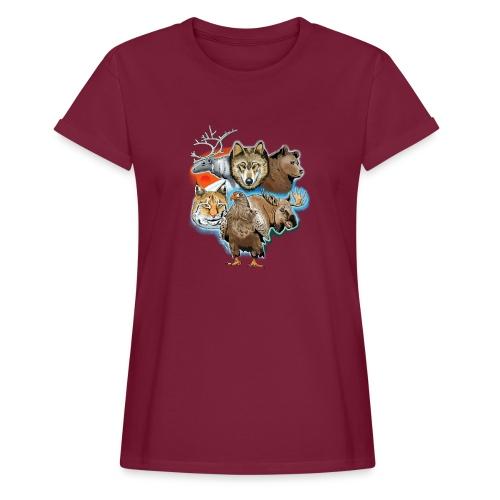 10 01 Wild life - Susi, poro, karhu, ilves, kotka - Naisten oversized-t-paita