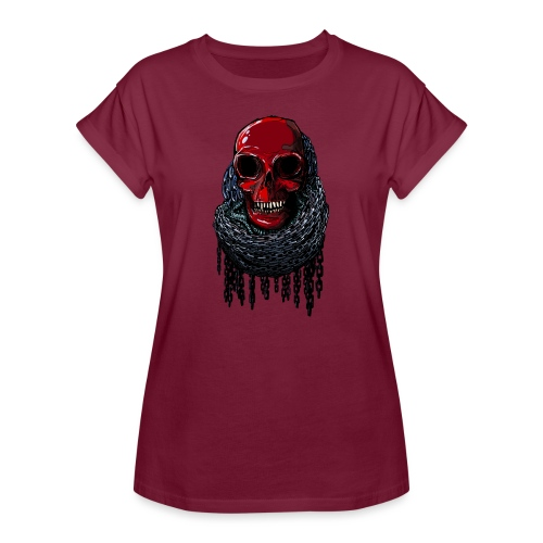 RED Skull in Chains - Women's Oversize T-Shirt