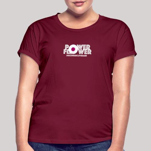 Logo PowerFlower bianco e fuxia - Maglietta ampia da donna