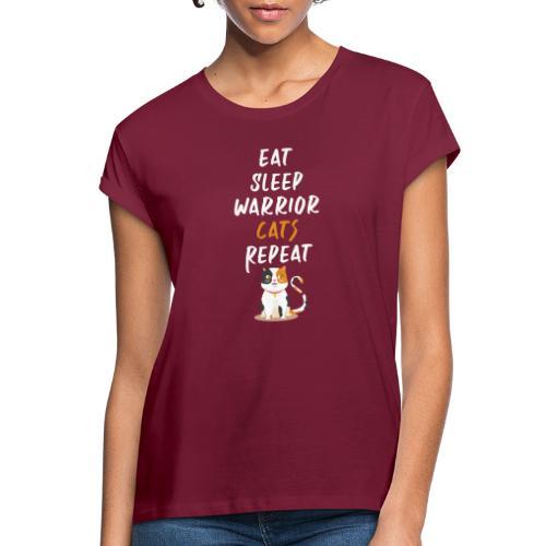 Eat sleep warrior cats repeat - T-shirt oversize Femme