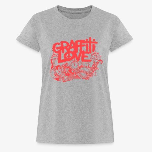 cosmos1 red graffiti love - Frauen Oversize T-Shirt