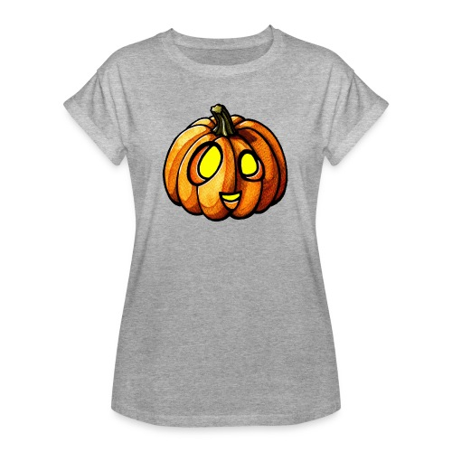 Pumpkin Halloween watercolor scribblesirii - Frauen Oversize T-Shirt