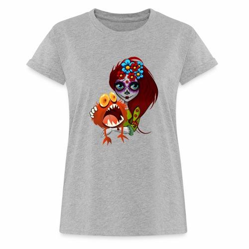 Catrina con Monstruo - Camiseta holgada de mujer