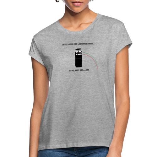 le fil rouge sur le bouton rouge - T-shirt oversize Femme