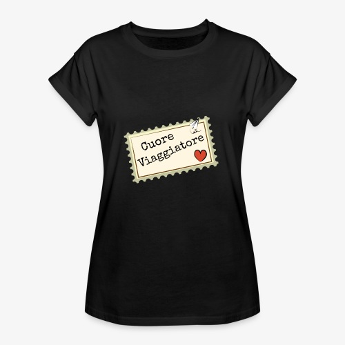CUORE VIAGGIATORE Scritta con aeroplanino e cuore - Maglietta ampia da donna