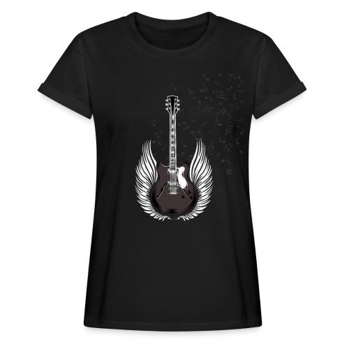 Gitarre mit Flügeln und Noten Musiker Geschenkidee - Frauen Oversize T-Shirt
