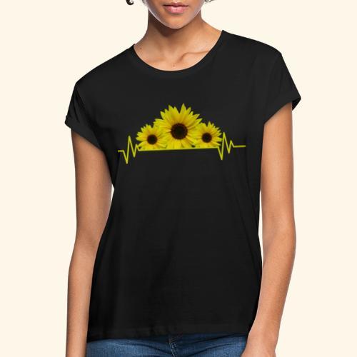 Sonnenblumen Herzschlag Sonnenblume Blumen Blüten - Frauen Oversize T-Shirt
