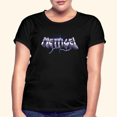 Mettigel T Shirt Design Heavy Metal Schriftzug - Frauen Oversize T-Shirt