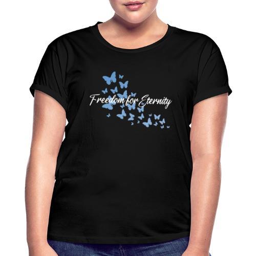 shirt blau text weiss - Frauen Oversize T-Shirt