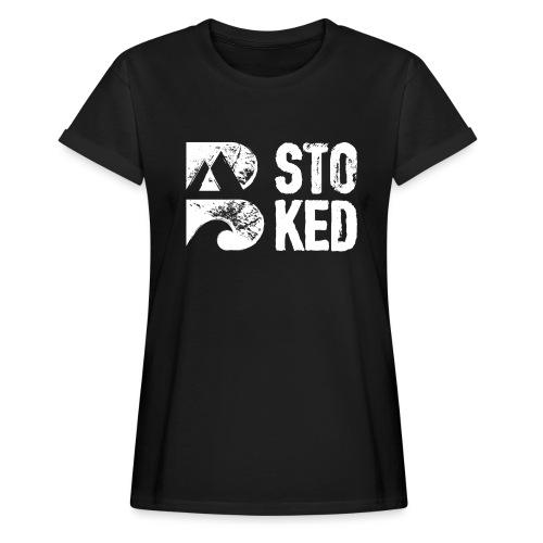 bstoked logo white - Women's Oversize T-Shirt