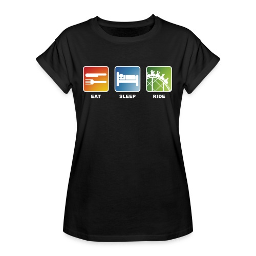 Eat, Sleep, Ride! - T-Shirt Schwarz - Frauen Oversize T-Shirt
