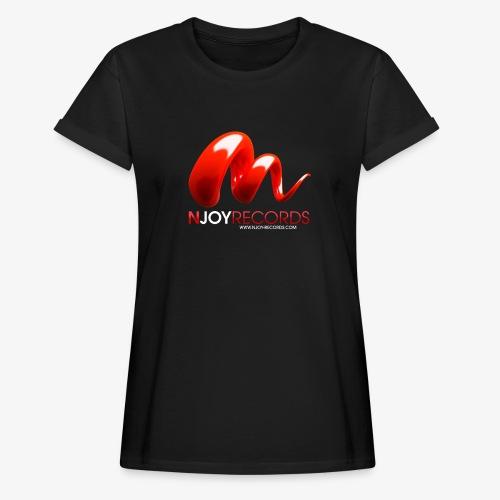Logo Njoy Records Blanc - T-shirt oversize Femme