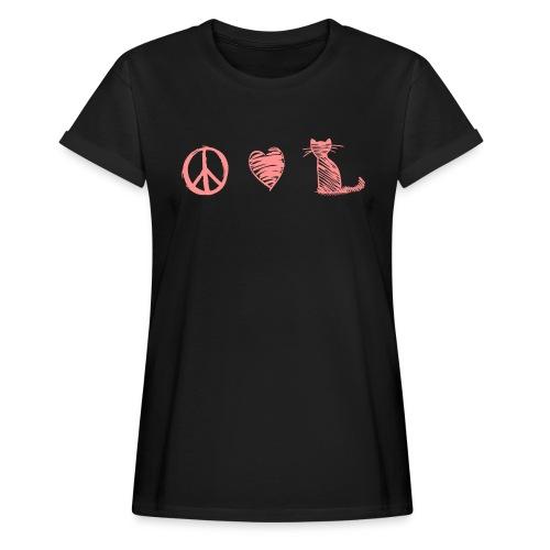 Vorschau: peace love cats - Frauen Oversize T-Shirt