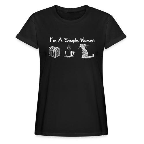 Vorschau: simple woman cat books - Frauen Oversize T-Shirt