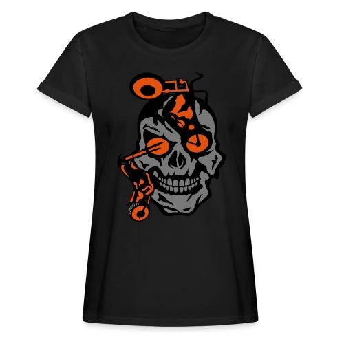 tete mort moto motrocycle oeil skull - T-shirt oversize Femme