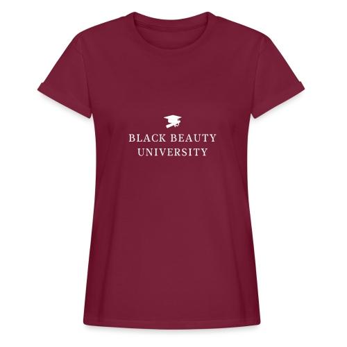 BLACK BEAUTY UNIVERSITY LOGO BLANC - T-shirt oversize Femme