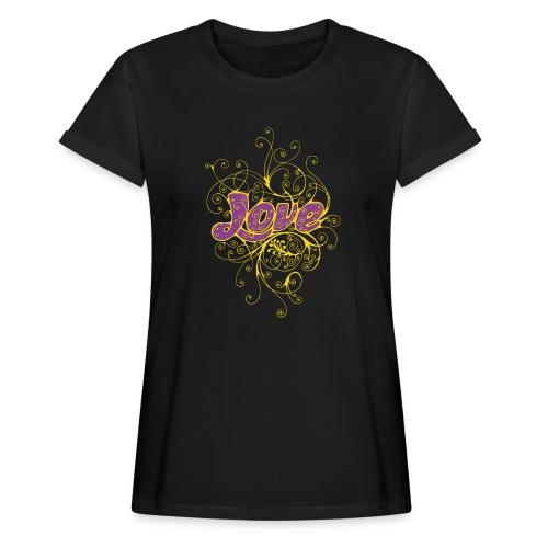 LOVE VIOLA CON DECORI - Maglietta ampia da donna
