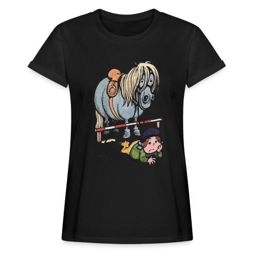 Thelwell Reiterin Liegt Hinter Dem Sprung - Frauen Oversize T-Shirt