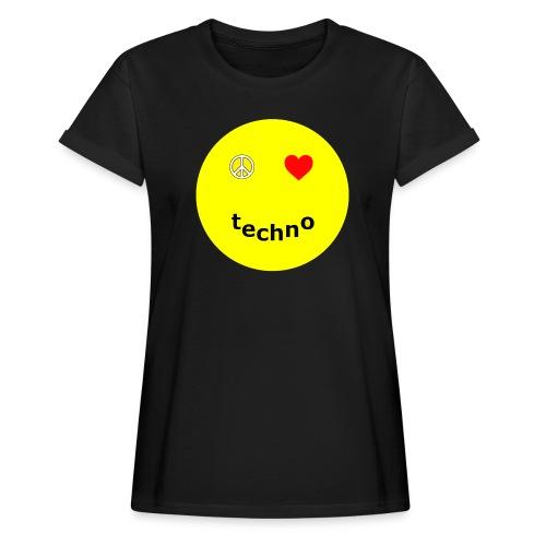 camiseta paz amor techno - Camiseta holgada de mujer