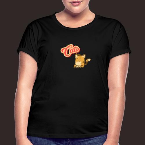 Katze | Katzen süß Schriftzug - Frauen Oversize T-Shirt