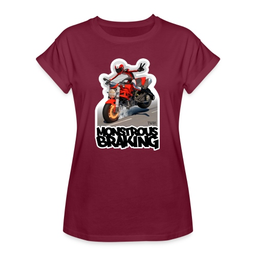 Ducati Monster, a motorcycle stoppie. - Camiseta holgada de mujer