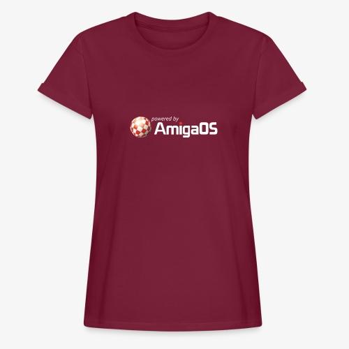 PoweredByAmigaOS white - Women's Oversize T-Shirt