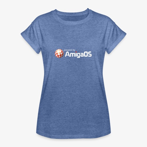 PoweredByAmigaOS white - Women's Oversize T-Shirt