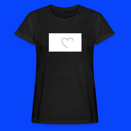 t-shirt bianca con cuore - Maglietta ampia da donna