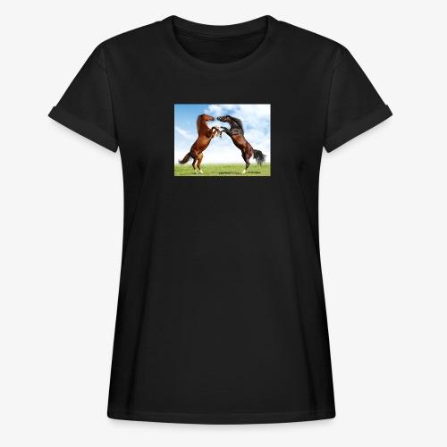 kaksi hevosta - Naisten oversized-t-paita