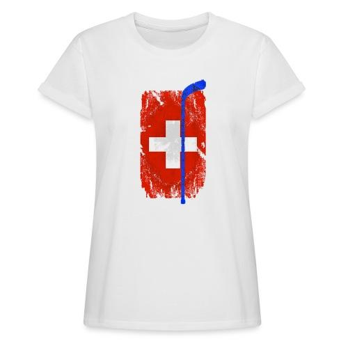 Schweizer Flagge Hockey - Frauen Oversize T-Shirt