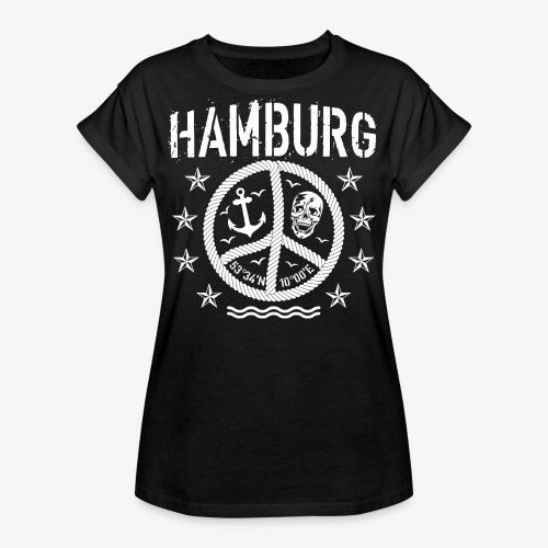 105 Hamburg Peace Anker Seil Koordinaten - Frauen Oversize T-Shirt
