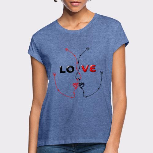 LOVE MINIMALISTIC LineART Valentinstaggeschenke - Frauen Oversize T-Shirt