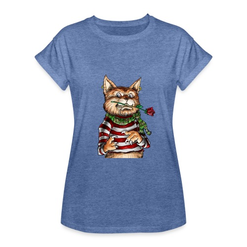 T-shirt - Crazy Cat - T-shirt oversize Femme
