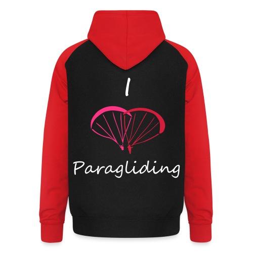 I Love Paragliding V2 - Unisex Baseball Hoodie