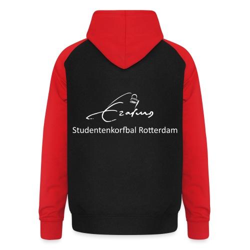 Erasmus Korfbal wit - Unisex baseball hoodie