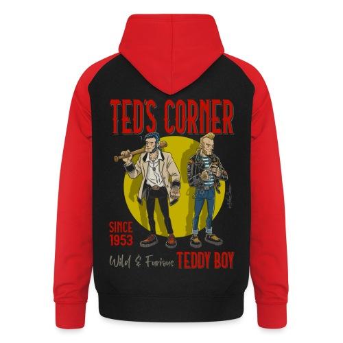 El rincón de Ted salvaje y furioso - Sudadera con capucha de béisbol unisex