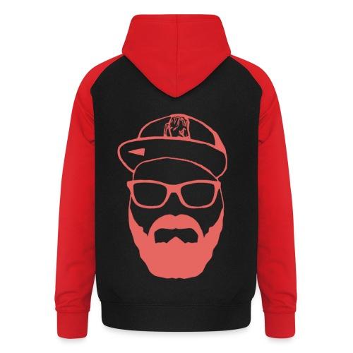 Blinzz Gesicht Rot - Unisex Baseball Hoodie