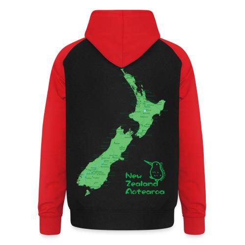 New Zealand's Map - Unisex Baseball Hoodie