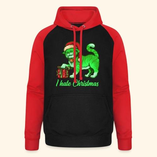 I hate Christmas giftig grüne Weihnachtsmann Katze - Unisex Baseball Hoodie