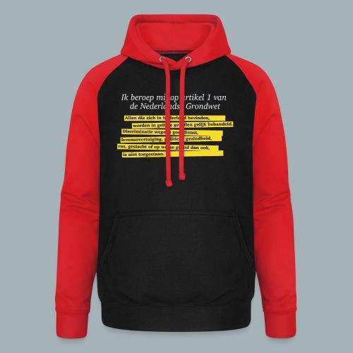 Nederlandse Grondwet T-Shirt - Artikel 1 - Unisex baseball hoodie