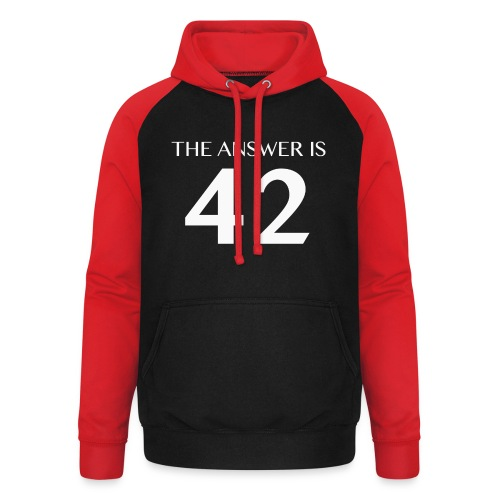 The Answer is 42 White - Unisex Baseball Hoodie