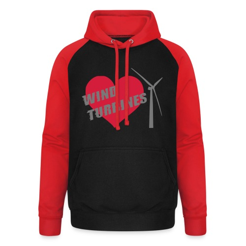 wind turbine grey - Unisex Baseball Hoodie