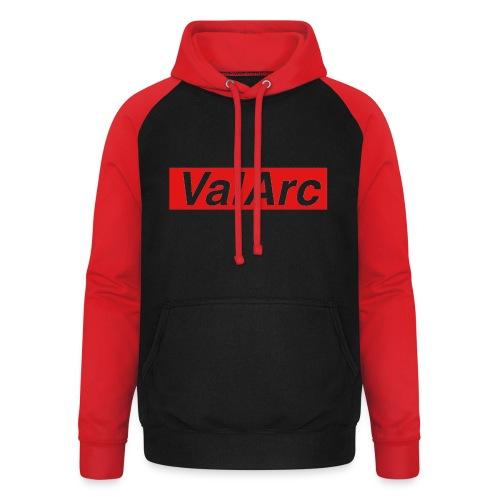 ValArc Text Merch Red Background - Sweat-shirt baseball unisexe