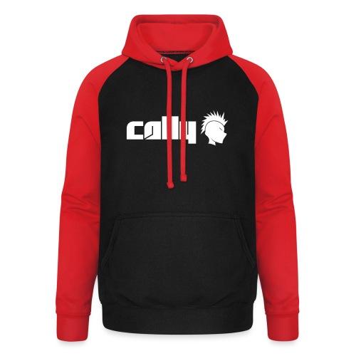 Cally White Logo - Unisex Baseball Hoodie