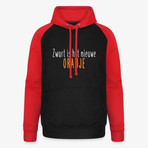 Zwart is het nieuwe oranje - Unisex baseball hoodie