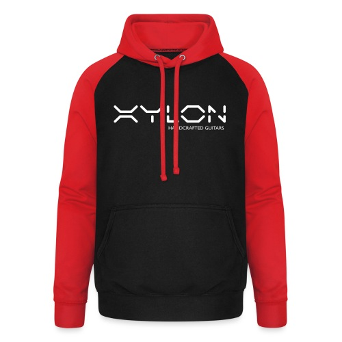 Xylon Handcrafted Guitars (name only logo white) - Unisex Baseball Hoodie