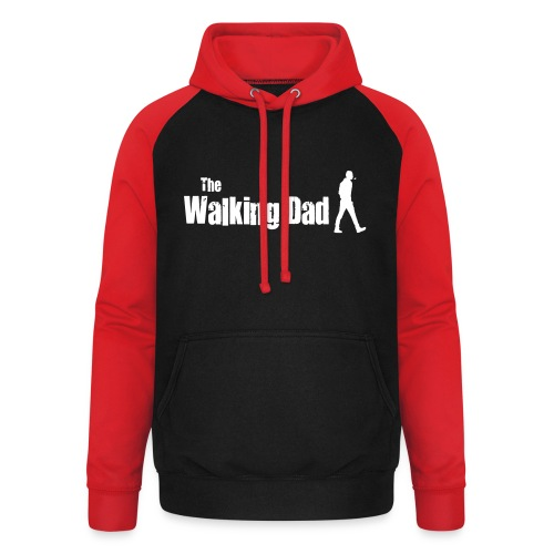 the walking dad white text on black - Unisex Baseball Hoodie