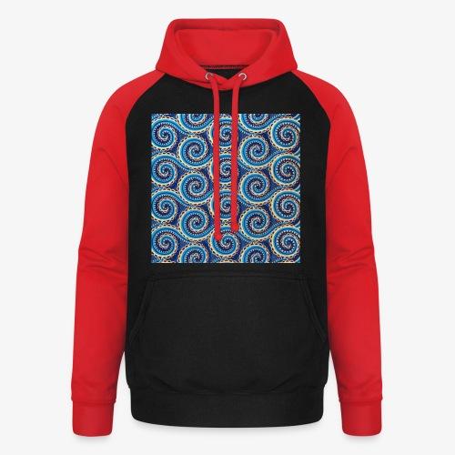 Spirales au motif bleu - Sweat-shirt baseball unisexe